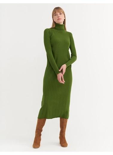 BGN Yeşil - Balıkçı Yaka Triko Elbise Yeşil